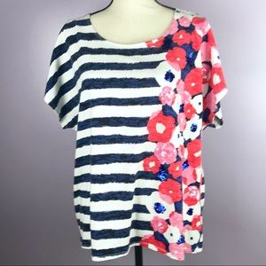 Ruby Rd Size 2X  Blue Stripped Side Floral Shirt